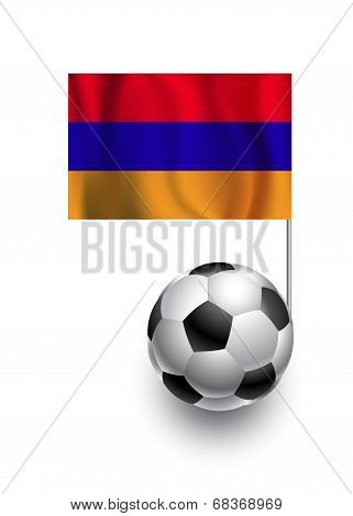 Illustration Of Soccer Balls Or Footballs With  Pennant Flag Of Armenia  Country Team