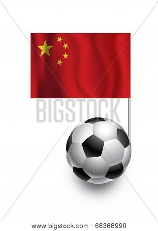 Illustration Of Soccer Balls Or Footballs With  Pennant Flag Of China  Country Team