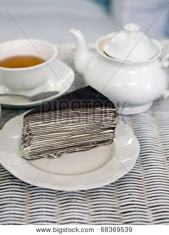 Crape Cake With Darjeeling Tea