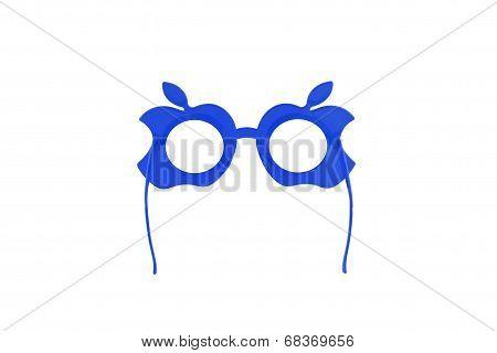 Blue Plastic Glasses Isolated On Whitebackground