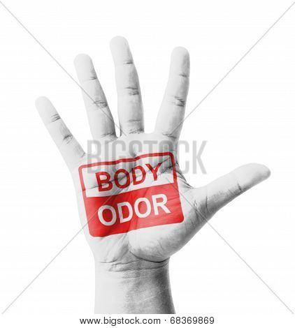 Open Hand Raised, Body Odor Sign Painted, Multi Purpose Concept - Isolated On White Background