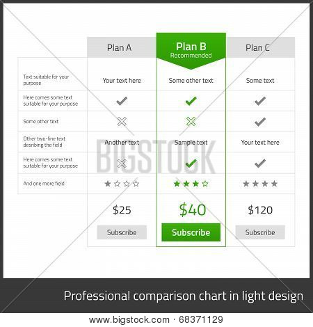 Comparison Table For 3 Products In Light Flat Design With Blue Elements