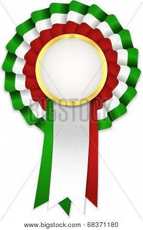 Tricolor Rosette With Golden Frame And Green, White And Red Ribbon