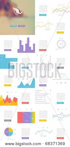 Elements of Infographics with buttons and menus. Vector illustration.