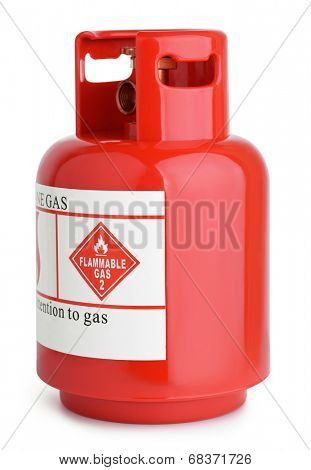 Red gas cylinder isolated on white