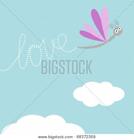 Flying dragonfly insect. Dash word Love in the sky. Card Flat design.