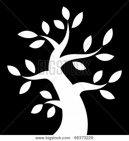 White Bold Tree icon on black background,