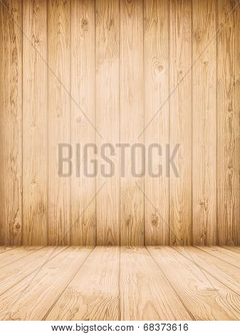 Background of old natural wooden dark empty room with messy and grungy crack beech, oak tree floor texture inside vintage, retro perfect blank warm rural interior with wood, shadows, dingy, dim light.