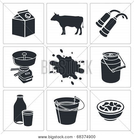 Milk production icon collection