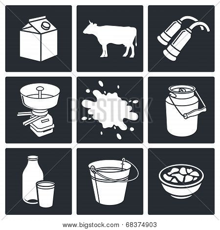 Milk production Icons set