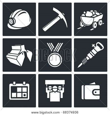 Coal industry icons set