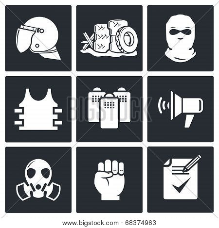 Riots in the street vector icon collection