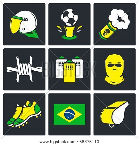 Soccer fans ultras Icons set