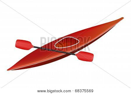 Canoe in red design with paddle