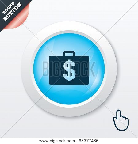 Case with Dollars USD sign. Briefcase button.