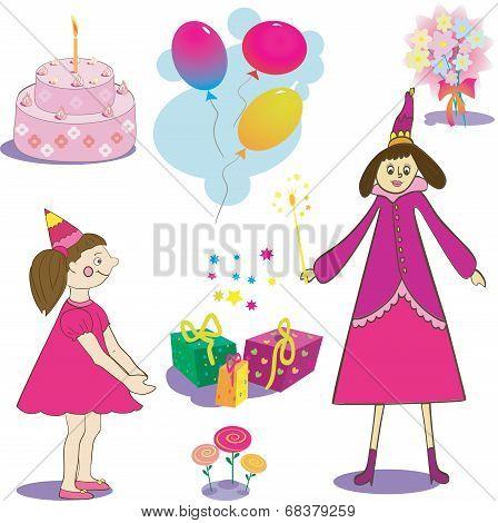 Set of birthday object. Illustation of gifts  cake and baloons