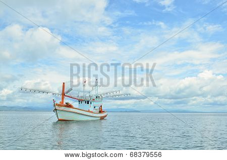 Wood Boat On The Sea