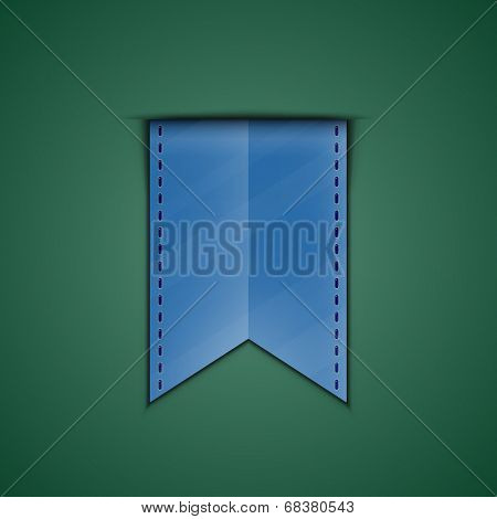 Blue bookmark decoration ribbon on green background. Vector illustration of blue silky ribbon