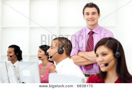 Confident Manager Checking His Employee's Work