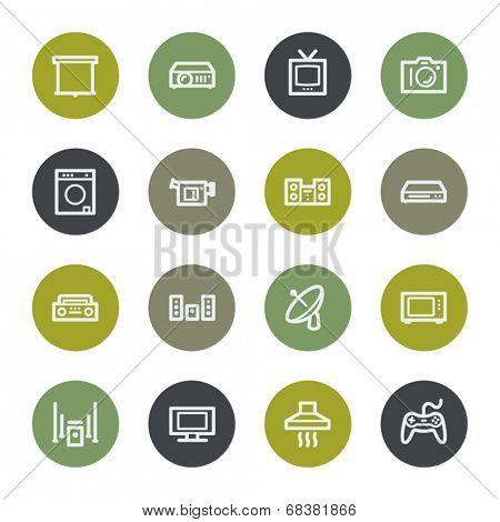 Home appliances web icons set, color buttons