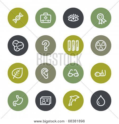 Medicine web icons set, color buttons