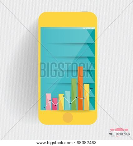 Infographic design template. Touchscreen device with colorful design graph, vector illustration.