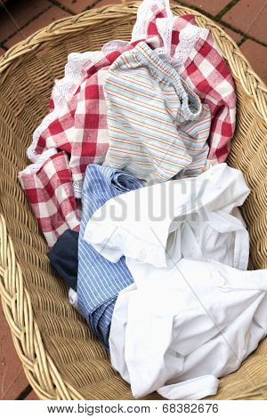 Soiled old fashioned laundry in a basket