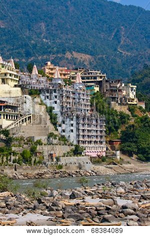 Holy Ganges River In Rishikesh, India.