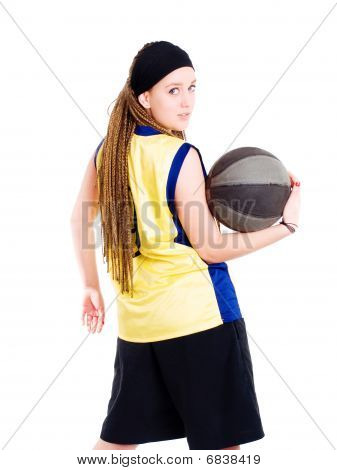 Young Sport Woman Holding Ball Over White Background