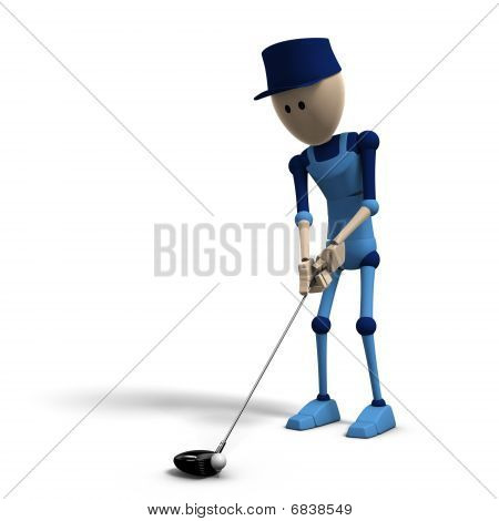 Blue Cg Character Playing Golf