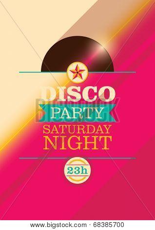 Disco party poster design. Vector illustration.