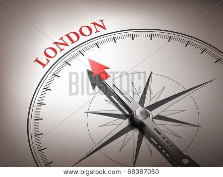 Bstract Compass With Needle Pointing The Destination London