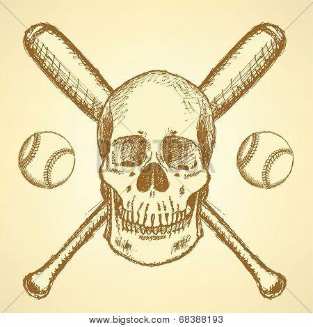 Sketch Baseball Ball, Bat And Scull