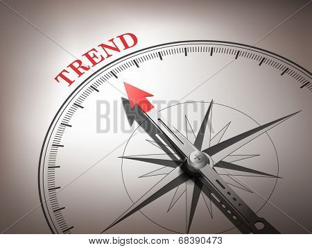Abstract Compass With Needle Pointing The Word Trend