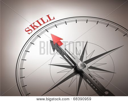 Abstract Compass Needle Pointing The Word Skill