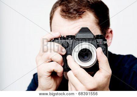 Man Holding Vintage Camera, Photographer