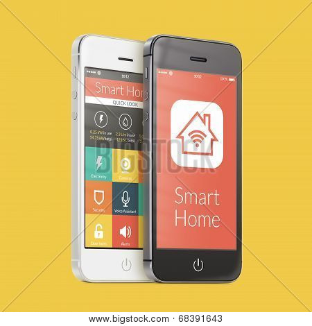 Black And White Smartphones With Smart Home Application On The Screen