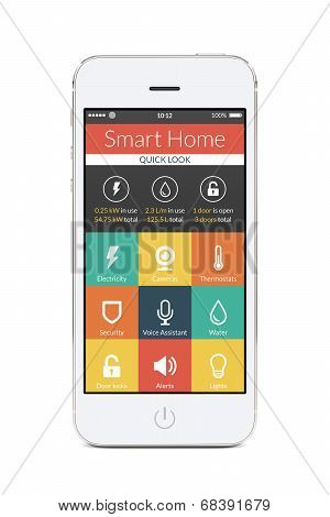 Front View Of White Smart Phone With Smart Home Application On The Screen
