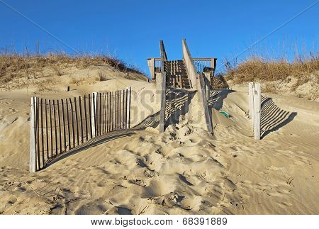 Sand-covered Stairway To A Beach In North Carolina;