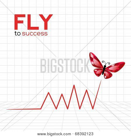 Success Graphic With Ruby Butterfly
