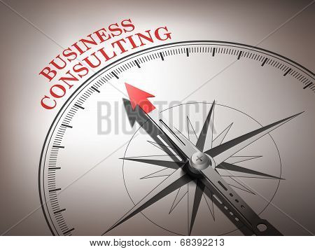 Abstract Compass Needle Pointing The Word Business Consulting