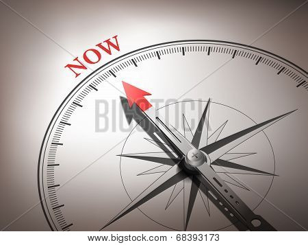 Abstract Compass Needle Pointing The Word Now