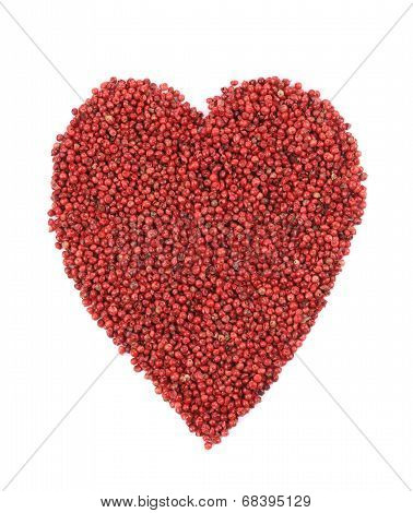 Dried red pepper in shape of heart.