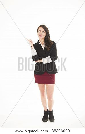 executive young girl wearing red skirt and black jacket posing