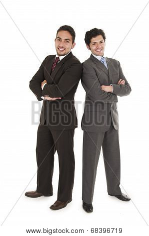two elegant men in suits posing