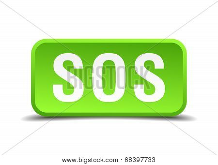 Sos Green 3D Realistic Square Isolated Button