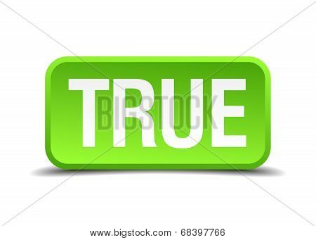 True Green 3D Realistic Square Isolated Button