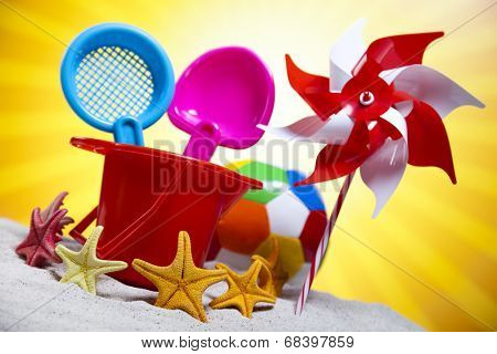 Colorful toys for childrens sandboxes, vacations