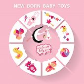 picture of born  - Cute Baby born toys infographic with sample new born icons in flat style - JPG