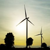 foto of wind-vane  - The wind turbine generator the renewable energy - JPG